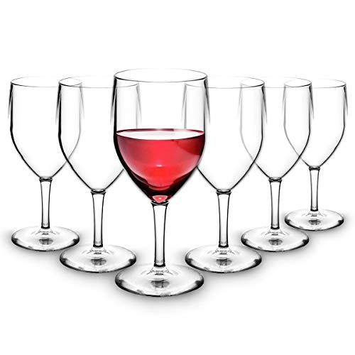 RB Copas de Vino Tinto Plástico Premium Irrompible Reutilizable 25cl, Set de 6