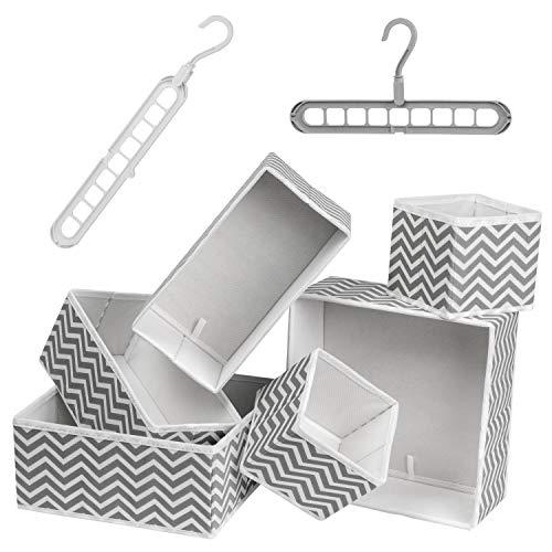 Organizador de cajones – Juego de 6 divisores de tela gris para ropa interior, ropa de bebé y corbatas con 2 perchas multifuncionales