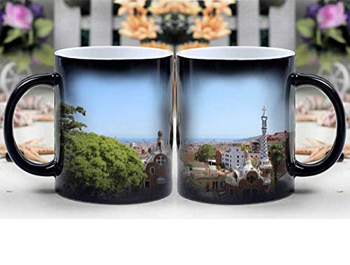 Amymami Personalized Gifts Heat Changing Magic Coffee Mug - Barcelona Park Guell Gaudi Architecture Travel