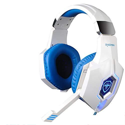 QNSQ Headset gaming headset, Surround Sound PC Gaming Headset, Ingebouwde 7.1 geluidskaart audio-processor, Koele gloeiende esports entertainment headset, size, Kleur: wit