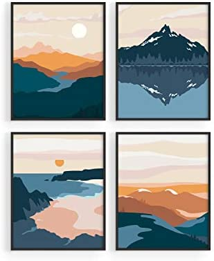 Nature Wall Art Prints Landscape Mountain Decor by Haus and Hues Mid Century Wall Art Modern product image