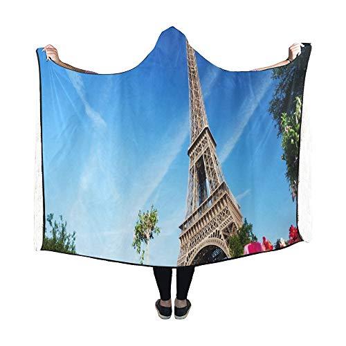 Zemivs Couverture à Capuche ensoleillée Matin Tour Eiffel Paris France Couverture 60x50 Pouce Comfotable Wrap à Capuche