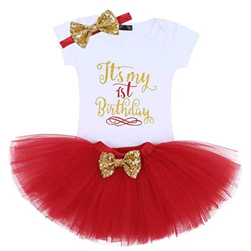 Edjude Vestido Conjuntos de Falda Bebé Niña Mono Recién Nacidas Fiesta de Primer Cumpleaños Ropa Diadema 1 año Rojo