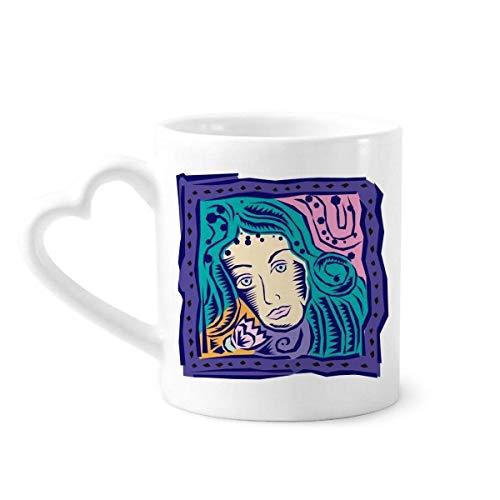 DIYthinker Constellation Virgo Mexicon Kultur Gravieren Kaffeetasse Keramik Keramik-Schale mit Herz Griff 12 Unzen Geschenk Mehrfarbig