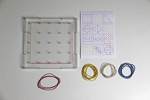 WISSNER Geobrett cuadradas 15 x 15 cm, apilable, transparente con anillos de goma, y 12 plantillas