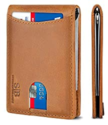 small The SERMAN BRANDS RFID Blocking Slim Bifold is made of real leather and has a simple front pocket for men …
