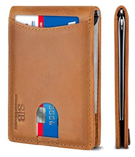 SERMAN BRANDS RFID Blocking Slim Bifold Genuine Leather Minimalist Front Pocket Wallets for Men with Money Clip Thin Mens Gift...