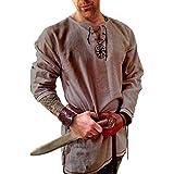 Men's Fashion Cotton Linen Shirt Long Sleeve Solid Color Ethnic Beach Yoga Top Gray XXL