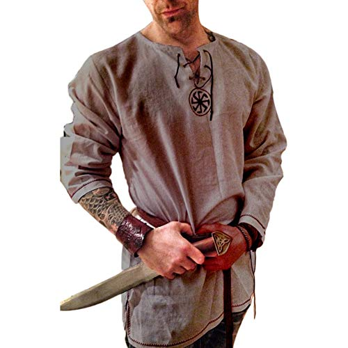 Men's Fashion Cotton Linen Shirt Long Sleeve Solid Color Ethnic Beach Yoga Top Gray L