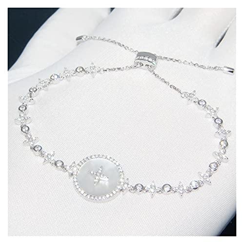 Real 925 Silver Redondo Madre de Pearl Art Stars Pulsera Cubic Zirconia Ajuste Cadena Mujer Joyería Oro (Color : Gold-Color)