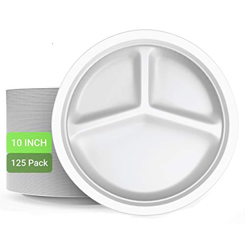 TDSupply 100% Compostable Paper Plates │ Premium 10' Plates │ 125 Pack │ 3 Compartment │ Lunch Or Dinner Size Disposable Plates │ Eco-Friendly │ 100% Biodegradable │ Recyclable │ 100% Natural │ White