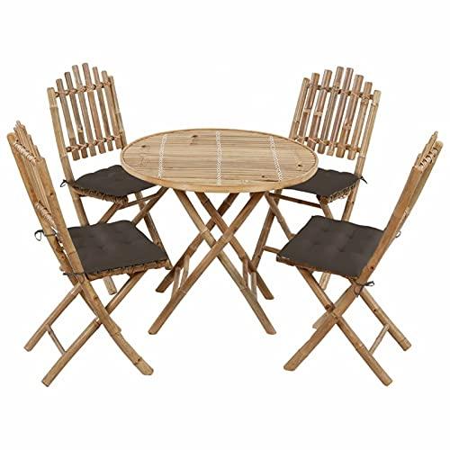 Festnight Juego de Comedor de Jardín Plegable con Cojines 5 Piezas Bambú, 1 Mesa, 4 Sillas con Cojín Gris Taupe