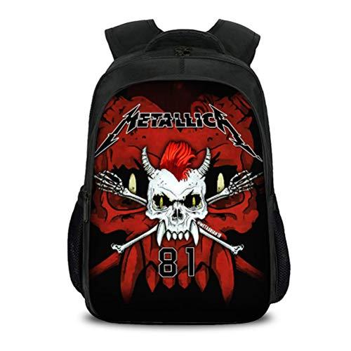 Metallica Hoher Kapazität Rucksack Geeignet für Schuljungen und Mädchen Outdoor Light Stilvolles Schultasche Lässige Reisetasche Tragbare Schultagspackung Kinder