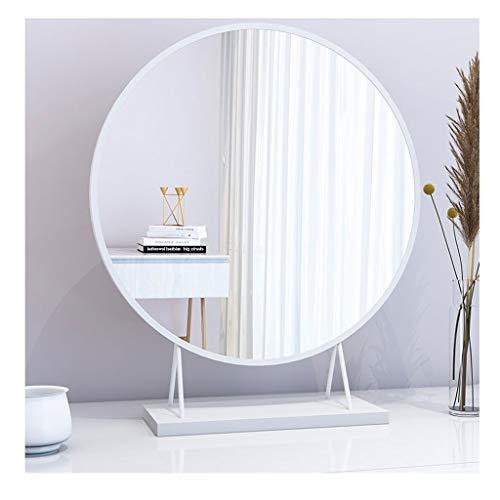 HZJZ Make-upspiegel – niet vergrote make-upspiegel voor op het bureau, aan de muur gemonteerde kaptafel, ronde slaapkamer met spiegel
