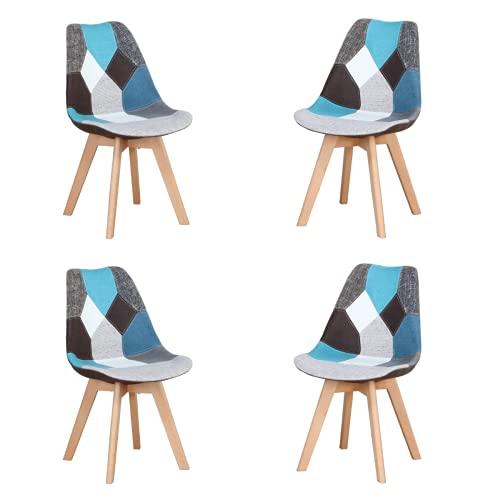 Silla de comedor ergonómica simple de algodón y lino patchwork de madera maciza cojín de esponja para cocina, sala de estar, oficina, juego de 4 (azul, 4)