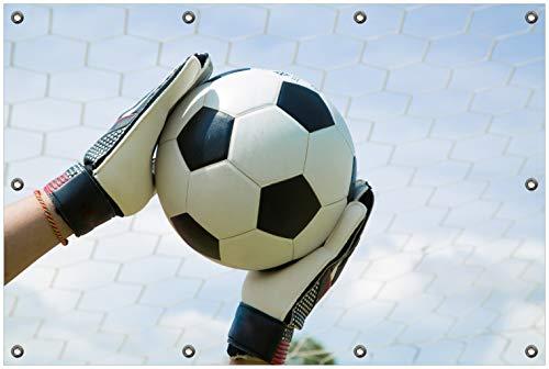 Wallario Garten-Poster Outdoor-Poster, Fußball - Torwart im Tor vor blauem Himmel in Premiumqualität, für den Außeneinsatz geeignet