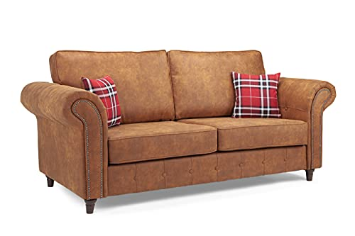 Honeypot - Sofa - Oakland - Faux Leather - 3 Seater - Tan Suede - Cushions Included