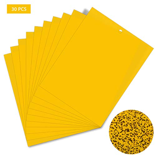 HellDoler Klebrige Insektenfallen,30 Stück Klebrige Fallen Gelbe Klebrige Papiere für Weiße Fliegen,Blattläuse,Blatt Bergmann,Motten andere Insekten,15cm x 20cm (30PCS)