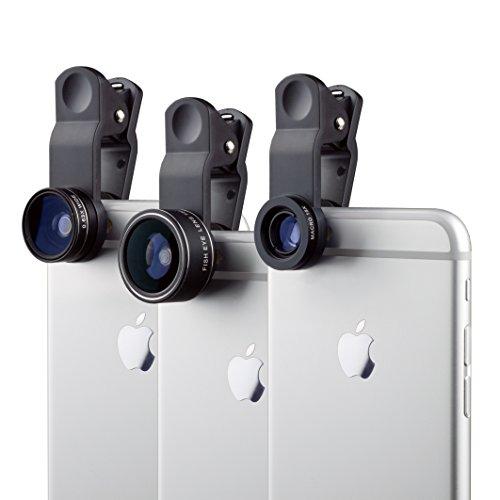 MyGadget Kit de Lentes para Móvil 3 en 1 Ojo de Pez 198°, Gran Angular 0.65x y Macro 15x - para Tablet Smartphone Samsung Galaxy Apple iPhone Huawei Xiaomi