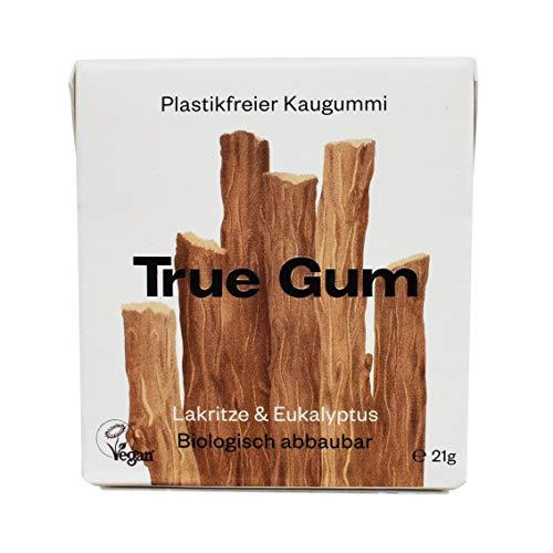 True Gum Lakritze & Eukalyptus | Plastikfreier Kaugummi | Biologisch Abbaubar | Vegan | 21 g