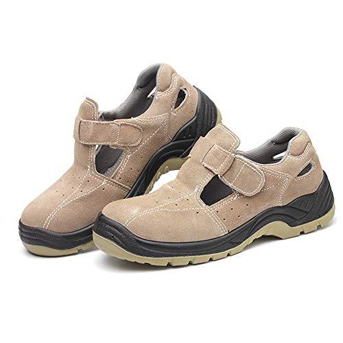 Shoes Atmungsaktive Sicherheits-Arbeitsschuhe, stahlkappenbeständige Arbeitsschuhe, sommerölbeständige rutschfeste Arbeitssandalen, baustellengeeignet, schweißbar ZDDAB