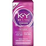 K-Y Me & You Intense Ultra Thin Latex Condoms- Water Based Lube, Intensifying Tingling Sensation For Her and Natural Fit For Him, Ribbed With Reservoir Tip, HSA Eligible, 24 Count