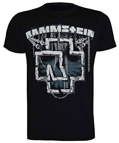 Rammstein Camiseta para Hombre Cadenas, Hombre, Camiseta, RS001, Negro, Large