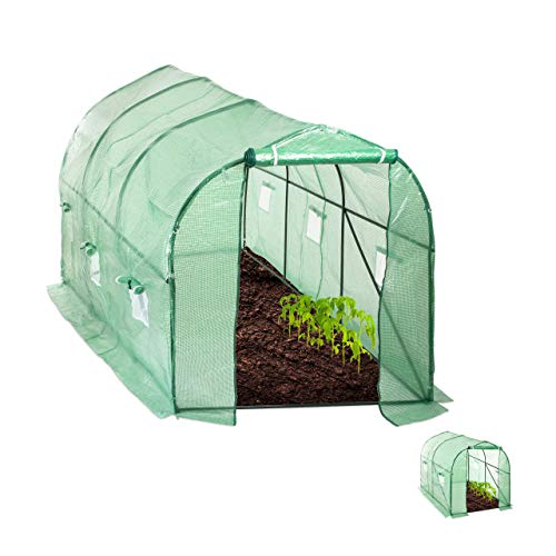 Relaxdays Serre 200x300x600 cm Tunnel bâche Housse Porte fenêtre Jardin Tente Plante Tomate, Vert, 200 x 300 x 600 cm