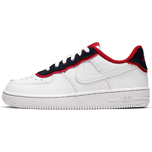 Nike Jungen Force 1 Lv8 1 Dbl (ps) Basketballschuhe, Mehrfarbig (White/White/Obsidian/University Red 101), 35 EU