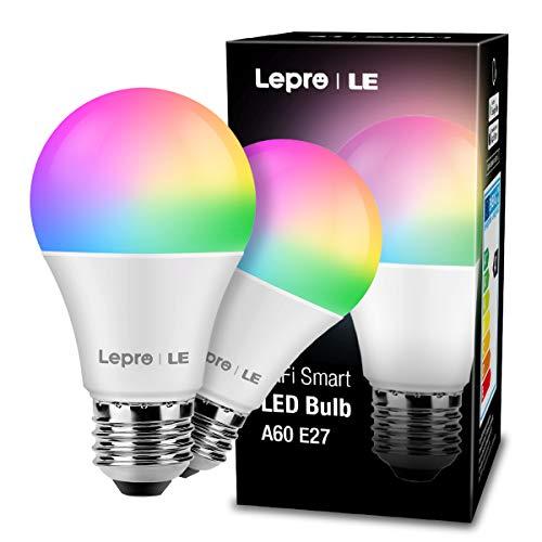 Bombilla LED Inteligente WiFi Regulable, LE Bombilla WiFi E27 9W Equivalente a 60W, 16 Millones de Colores 806 lúmen, Lámpara WiFi Luz RGBW Blanca 2700K-6500K Compatible con Alexa, Google Home,2 Pcs