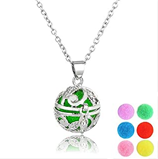 Essential Oil Diffuser Necklace Hollow Ball Lockets Pendant Aromatherapy Necklace With Insert Balls Universal Jewelry