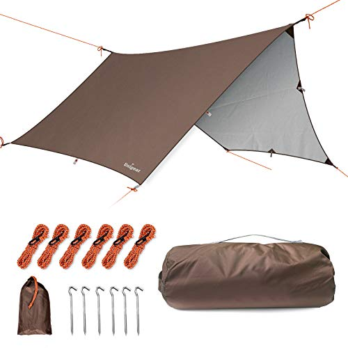Unigear Hammock Rain Fly Camping Tarp, 15x14FT/12x10FT Multifunctional Waterproof Tent Tarp, Lightweight and Compact for Backpacking, Hiking, Traveling