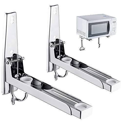 Kaxich Mikrowellenhalterung mit Haken, Mikrowellenhalter aus Edelstahl Mikrowellenherd-Halter für Mikrowelle, Backofen (inklusive Montagematerial)