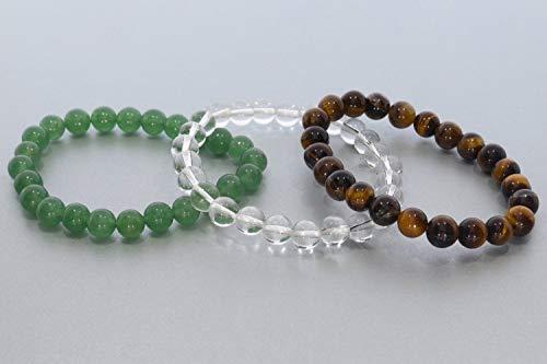 3 pulseras de cristal de roca multicolor aventurina y ojo de tigre, pulsera elástica de 8 mm de piedras preciosas