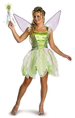 Disguise Women s Disney Fairies Tinker Bell Deluxe Costume, Green, Women 12-14