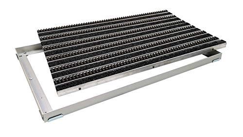 EMCO Entreemat DIPLOMAT Rips antraciet + borstels grijs 22 mm + aluminium frame vuilvangmat deurmat antislipmat 600 x 400 mm