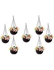 Abasr Round Rattan Woven Plastic Flower Hanging Planter/Beautiful Round Gamla Pot/Flower Hanging Pot for Garden Balcony