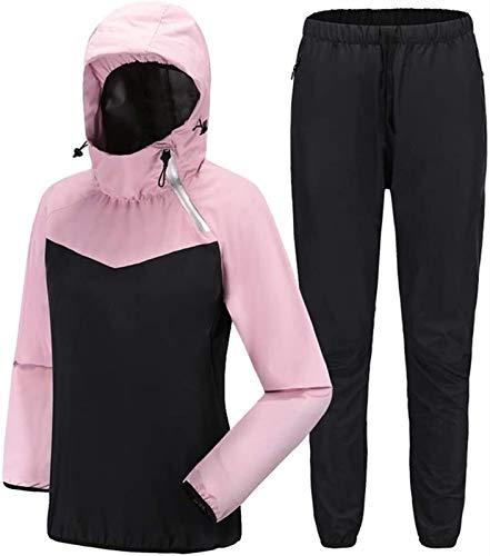 MFFACAI Cortavientos Running Conjunto de Chándal Deportivo, Traje de Entrenamiento con Capucha Manga Larga Trajes de Sudoración para Fitness con Cremallera (Color : Pink, Size : L)
