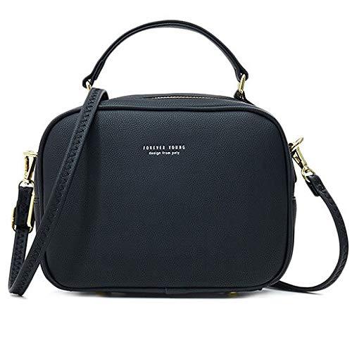 WANYIG Handy Umhängetasche Damen PU Leder Schultertasche Klein Reißverschluss Handtasche Crossbody Bag Frauen Brieftasche Cross-Body Tasche(Schwarz)