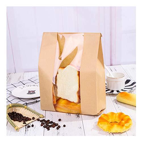 Pack of 25 Paper Bread Loaf Bag Cookie Bags Kraft Food Packaging Storage Bakery Bag with Viewing Window, Label Seal Sticker Included (Kraft, 12.6''x6.7''x4.1'')