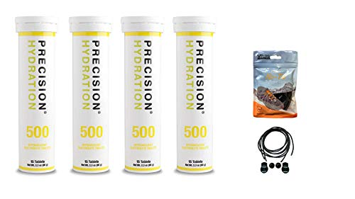Precision Hydration Electrolyte Tablets - 4 Tubes of 12 x Tabs (500 Strength). Bundled with a Pack of VPoint Leisure Elastic No-tie Reflective Shoe Laces