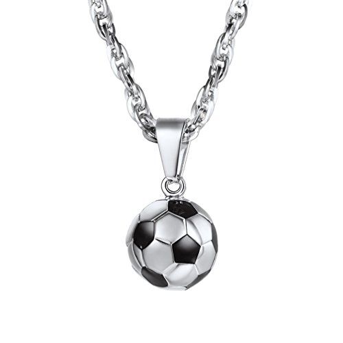 PROSTEEL Football Pendant Necklace Men Women Stainless Steel Chain Hip Hop Soccer Ball Sports Jewelry