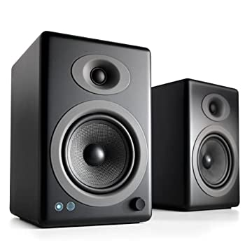 Audioengine A5+ Plus Wireless Speaker | Desktop Monitor Speakers | Home Music System aptX HD Bluetooth,150W Powered Bookshelf Stereo Speakers AUX Audio USB RCA Inputs/Outputs 24-bit DAC  Black