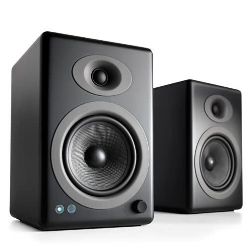 Audioengine A5+ Plus Wireless Speaker | Desktop Monitor Speakers | Home Music System aptX HD Bluetooth,150W Powered Bookshelf Stereo Speakers, AUX Audio, USB, RCA Inputs/Outputs, 24-bit DAC (Black)