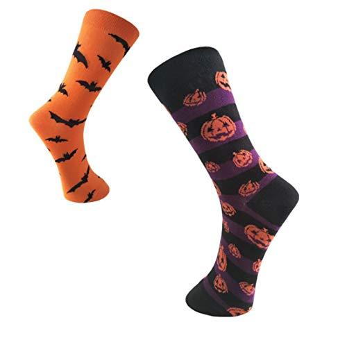 YHwot 2 Pares, Calcetines de Halloween, Calcetines con Estampado de murciélagos de Calabaza, Accesorios de Fiesta de Disfraces de Halloween