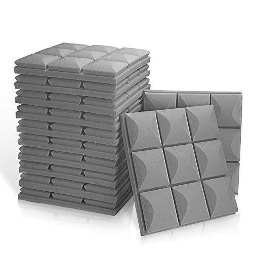 12 Pack - Acoustic Foam Panels, 2  X 12  X 12  Mushroom Studio Wedge Tiles, Sound Panels wedges Soundproof Sound Insulation Absorbing, 9 Block Mushroom Design (12 Pack [Mushroom], Grey)