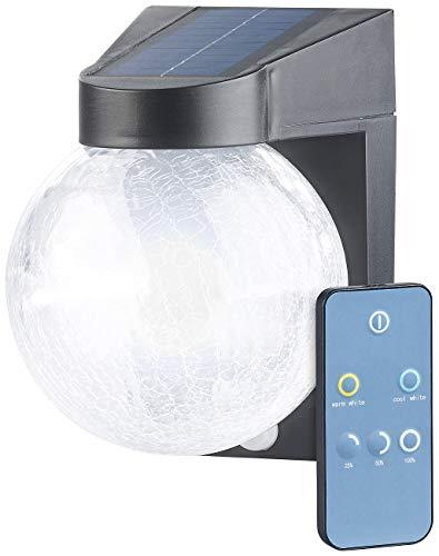 Luminea Licht: Solar-LED-Wandleuchte im Crackle-Glas-Design, PIR-Sensor, 200 Lumen (Solar Leuchte Fernbedienung)