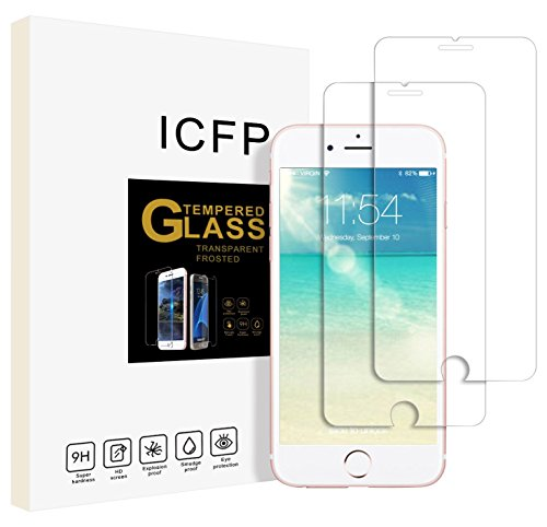 ICFPWR, iPhone 8 Plus 7 Plus Tempered Glass Screen Protector 2 Pack, 2.5D Edge, 9H Hardness, Crystal Clear, No Bubbles, 3D Touch Compatible