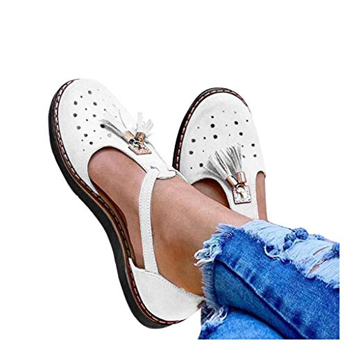 Lowest Prices! kaifongfu Womens Dress Sandals Casual Platform Fringe Tassel Hollow Out Flat Sandals ...