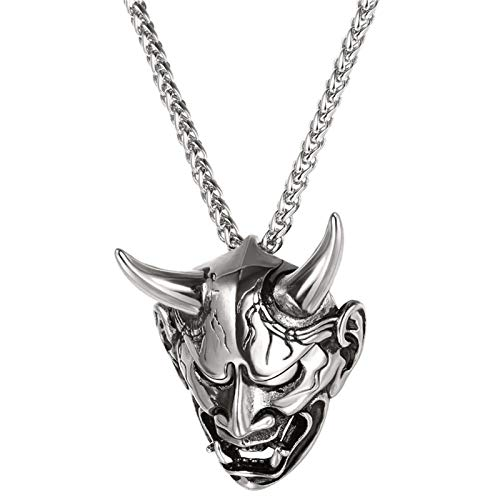 YYJL 4 Style Gothic Horn Evil Devil Demon Skull Pendant Necklace Stainless Steel The Eyes of Horus Hip Hop Necklace Jewelry for Men 2